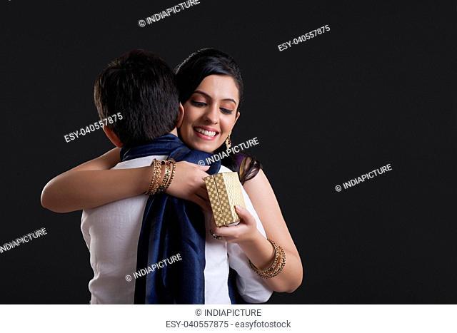 Sister hugging her brother at Bhaidooj