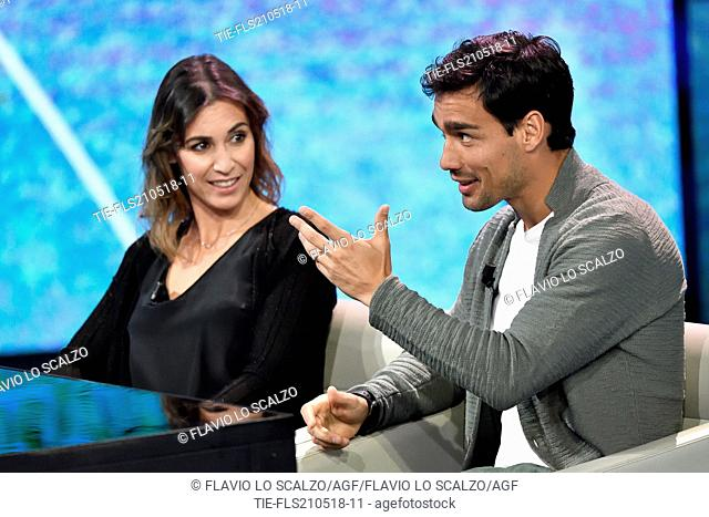 The tennis players Flavia Pennetta with husband Fabio Fognini during the tv show Che tempo che fa, Milan, ITALY-20-05-2018