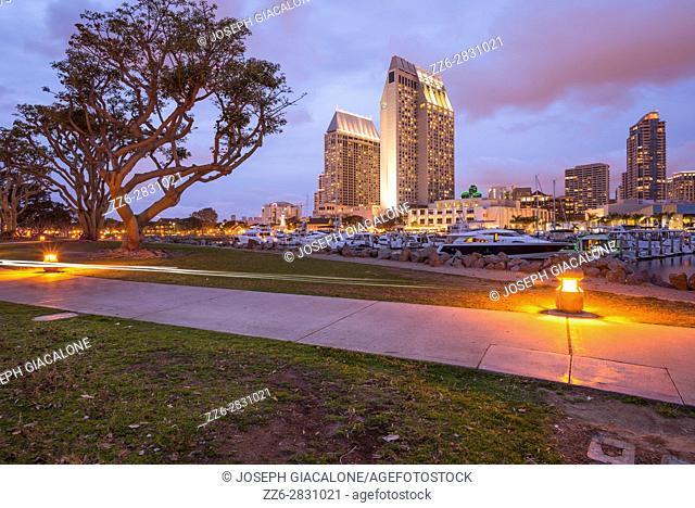 Embarcadero Marina and Park at night. San Diego, California