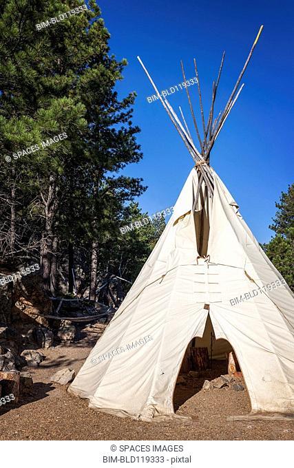 Native American teepee, Mount Rushmore National Memorial, Black Hills, South Dakota, United States