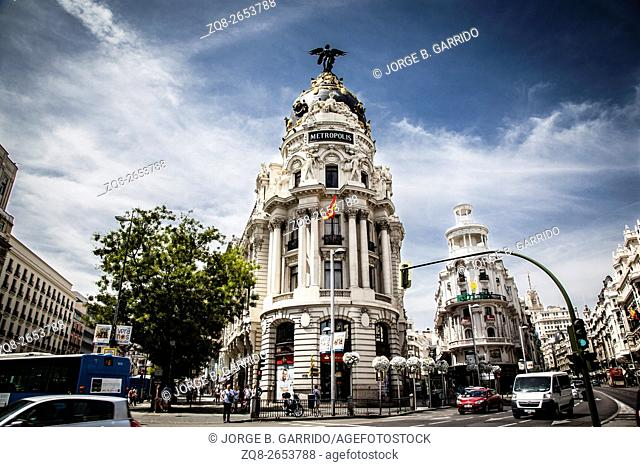 Metropolis building on Gran Via, Madrid, Spain