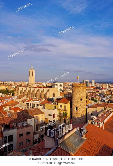 Spain, Catalonia, Barcelona Province, Terrassa, Elevated view of the city with the Torre del Palau and the Catedral Basilica del Sant Esperit.