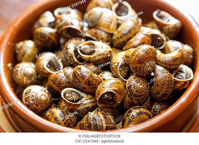 Snails. Restaurant Bonay.Peratallada. Girona, Costa Brava, Spain