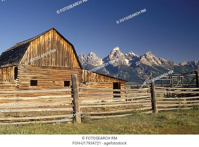 Jackson Hole, WY, Grand Teton National Park, Wyoming, Old barn at Antelope Flats with a view of the Grand Teton Mountains in the background in Grand Teton Nat'l...
