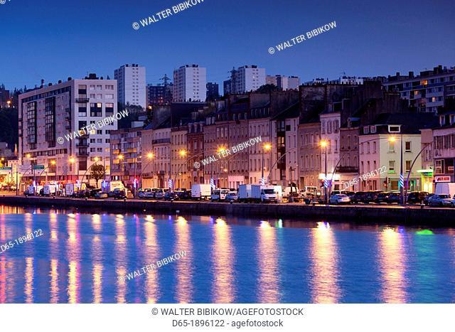 France, Normandy Region, Manche Department, Cherbourg-Octeville, Bassin du Commerce basin, dusk