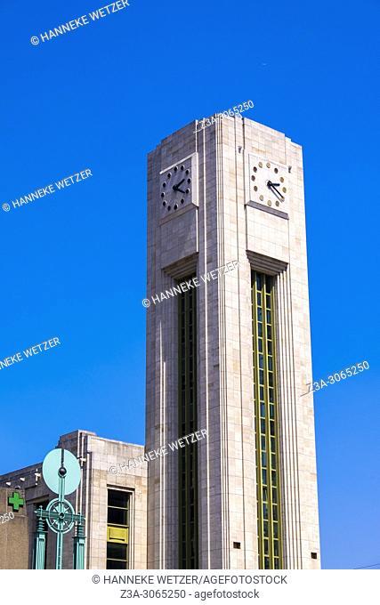 Clock Tower of Gare du Nord, Brussels, Belgium, Europe