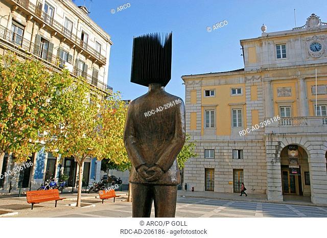 Statue, in front of Teatro Nacional de Sao Carlos, Largo de Sao Carlos, quarter Chiado, Lisbon, Portugal
