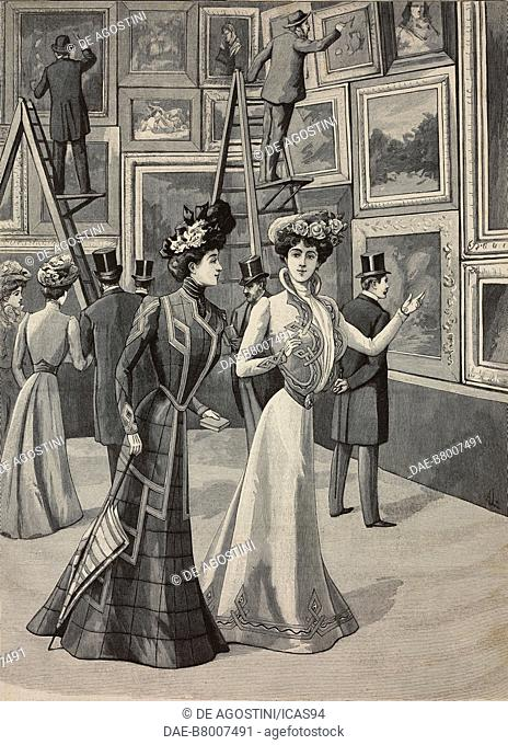 At the painting exhibition: women wearing fashionable clothes, High Life Tailor advertising page, engraving from La Mode Illustree, No 19, May 12, 1901