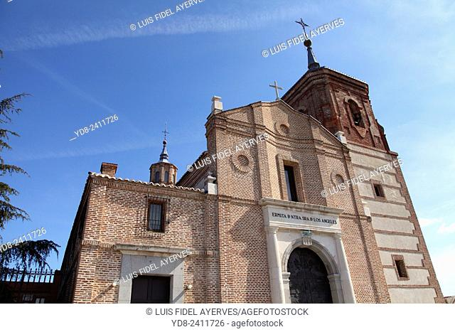 Facade of the Church of Our Lady of the Angels in the Cerro de los Angeles, Getafe, Madrid, Spain