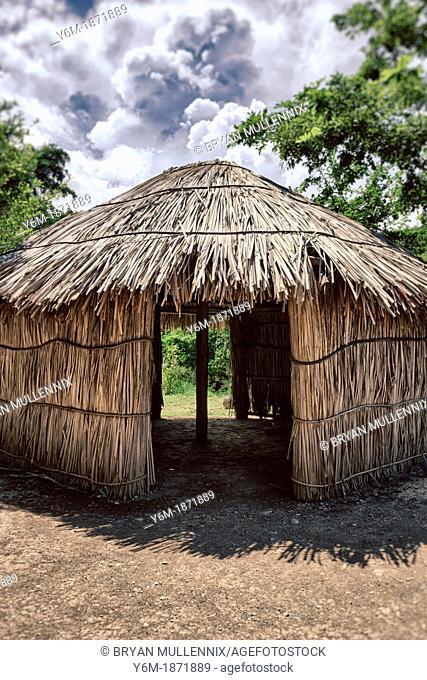 Indigenous tride huts, at Centro Ceremonial Indigena de Tibes, Ponce, Puerto Rico