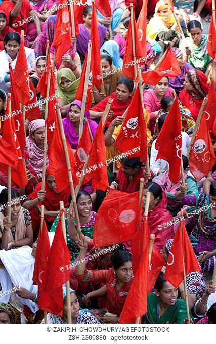 Workers of Hamim Sportswear LTD take part in a demonstration in front of National Press Club in Dhaka, following the closure of their factory