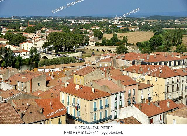 France, Herault, Beziers, panorama on the suburbs of the city from the square Saint Jacques