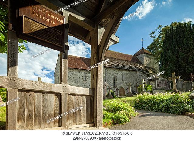 Norman church of St Wulfran in Ovingdean village near Brighton, East Sussex, England
