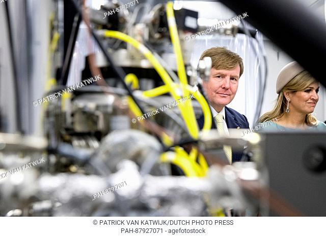 King Willem-Alexander and Queen Maxima of The Netherlands visit the trade mission about chemistry in Wittenberg, Germany, 9 February 2016