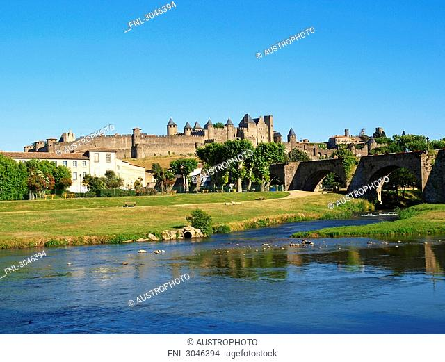 Battlement and castle of Carcassonne, France