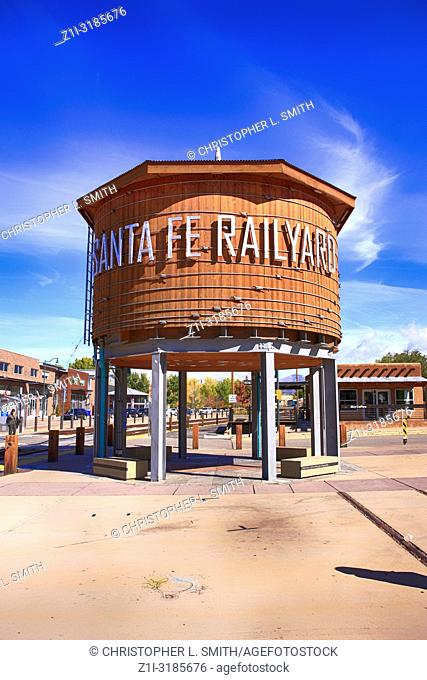 The refurbished water tower in the railyard art district of Santa Fe, New Mexico