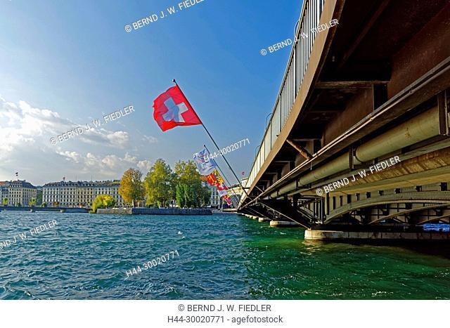 Genfer See, Pont du Mont-Blanc, L'île Rousseau