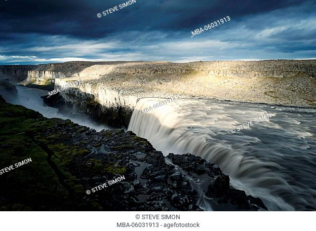 Iceland, nature power Dettifoss, the strongest waterfall of Europe
