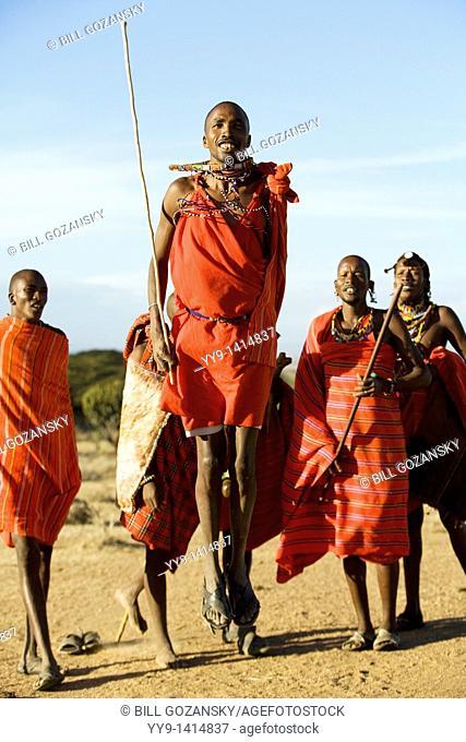 Maasai Warriors Jumping - Maji Moto Maasai Village - near Narok, Kenya