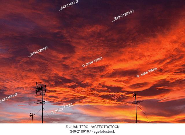 Red clouds, evening sky
