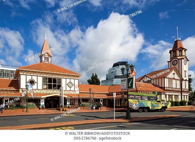 New Zealand, North Island, Rotorua, i-Site Visitor Center and clocktower