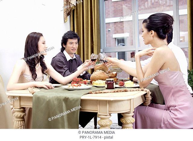 Friends toasting wineglass