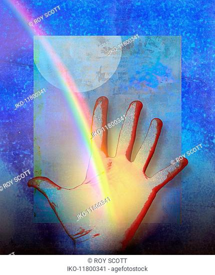 The end of the rainbow on outstretched hand