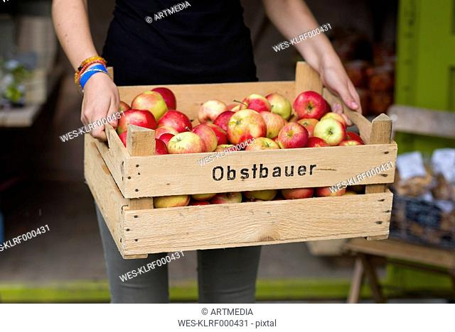 Woman holding crate of apples, partial view