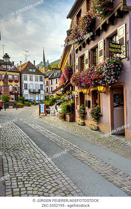 village Ribeauvillé, Alsace, France, typic and lush flower decoration of the region with a view to the vineyards and castle