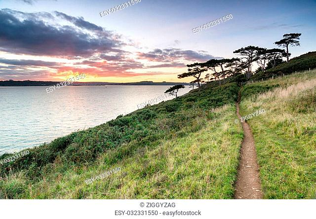 Sunset from St Anthony's Head looking out toward Falmouth in Cornwall