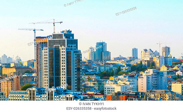 Panorama view of Kiev with construction sites of modern buildings. Ukraine