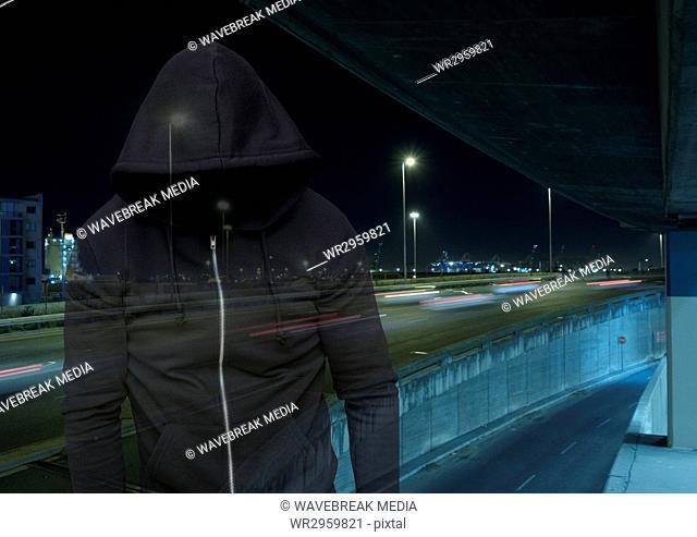 Criminal man transparent with night road car park