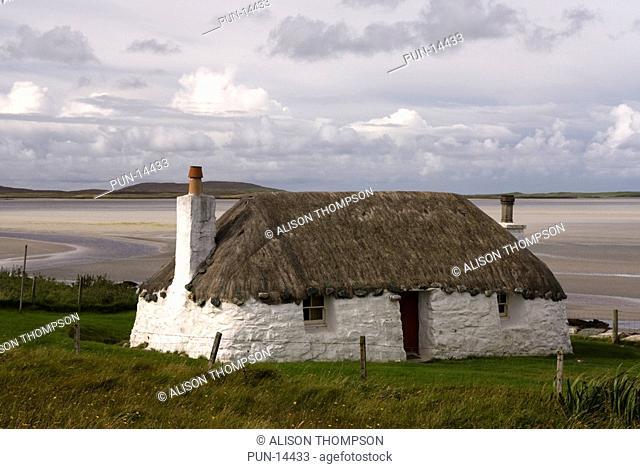 Struan cottage, a traditional Hebridean cottage North Uist, Outer Hebrides, Scotland