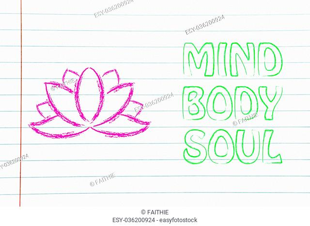 mind body and soul design inspired by yoga, with lotus flower