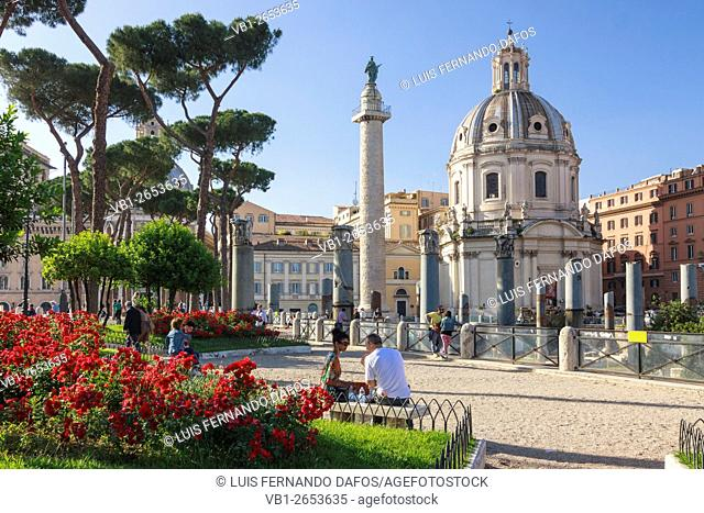 Trajan Column and Church of the Holy Name of Mary at the Trajan Forum in Rome, Italy