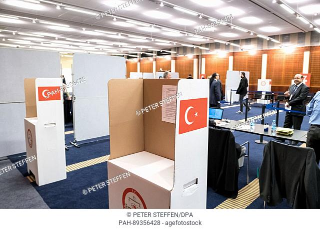 Polling booths can be seen on the trade fair premises in Hanover, Germany, 27 March 2017. Turkish people in Germany are called upon to vote in the controversial...