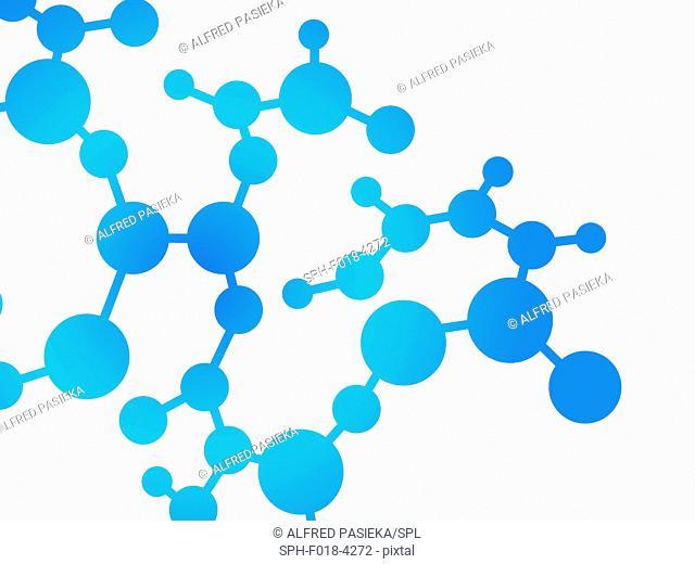 Abstract molecule design, computer illustration