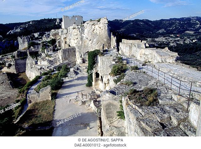 Ruins of the dungeon of Chateau des Baux, Provence-Alpes-Cote d'Azur. France, 11th-13th century