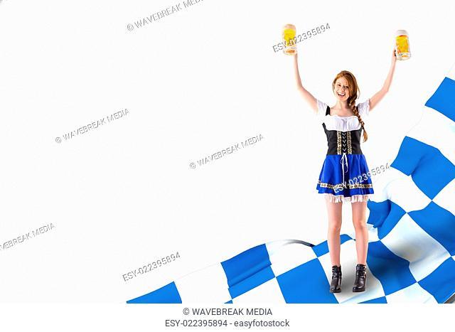 Composite image of oktoberfest girl holding jugs of beer