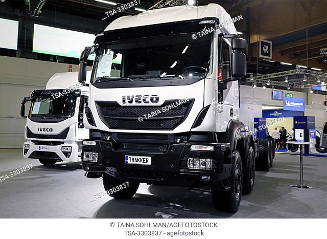 Helsinki, Finland. 09 May, 2019. IvecoTrakker 500 E6 and on the background, Iveco Eurocargo displayed on Transport-Logistics 2019 in Messukeskus Helsinki