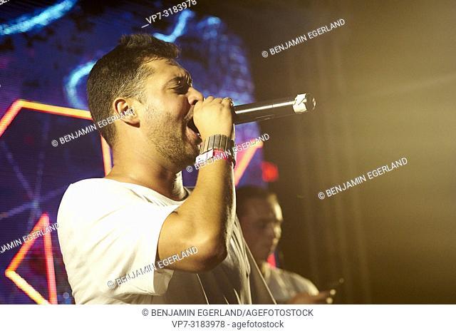MC Robbie Rise at music festival Starbeach on 13. August 2018 in Chersonissos, Crete, Greece