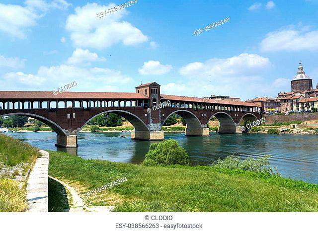 Pavia (Lombardy, Italy): the famous covered bridge over the Ticino river