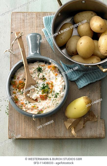 Vegetable quark served with new potatoes