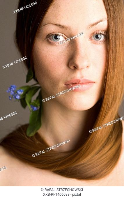 beauty woman with forget-me-nots