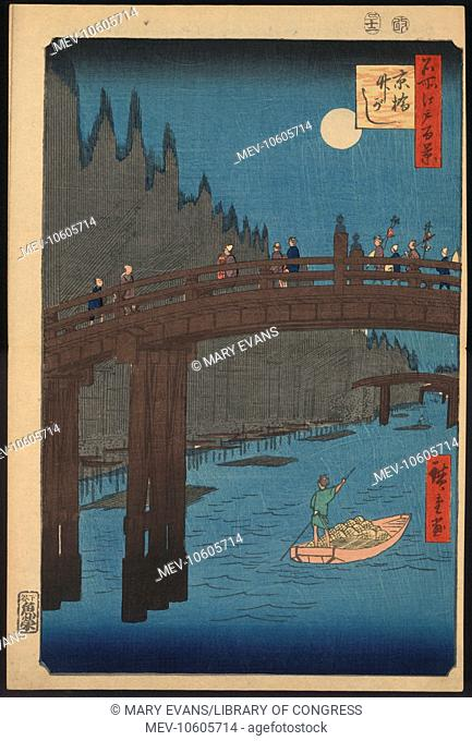 Bamboo yards, Kyo bridge. Print shows pedestrians crossing the Kyo Bridge as a man poles a boat on the river below, with long pieces of bamboo along the bank on...