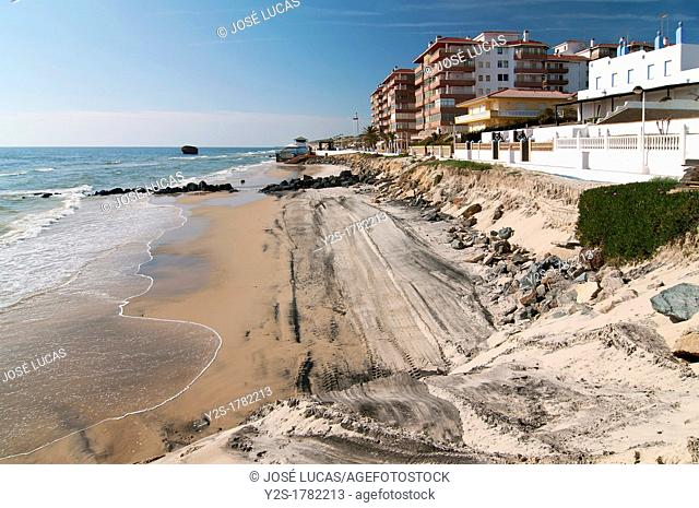 Natural disaster, Matalascañas beach after strong storms of winter 2010, Almonte, Huelva-province, Spain