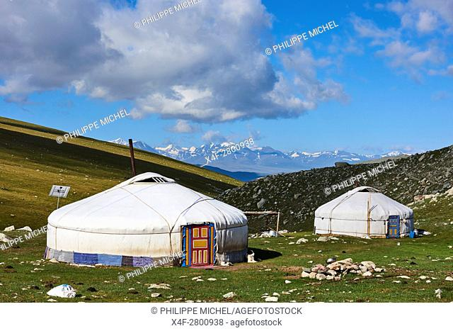 Mongolia, Bayan-Ulgii province, western Mongolia, National parc of Tavan Bogd, the 5 highest summit of the Altay mountains, nomad camp of Kazakh people