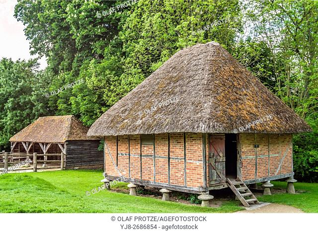 Thatched hut at the Weald & Downland Open Air Museum of Singleton, West Sussex, England