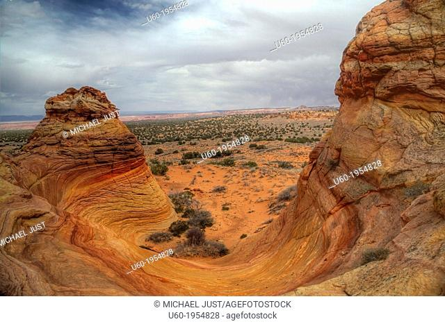 Unusual rock formations formed by erosion of sandstone make up the landscape at South Coyote Buttes at Vermillion Cliffs National Monument, Arizona