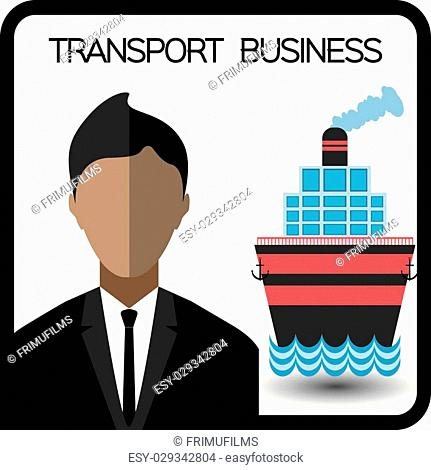 Transport business with a person and a ship, flat design. Digital vector image